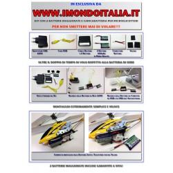 Kit con 2 Batterie (260 Mah) e Carica Batteria per Microelicotteri