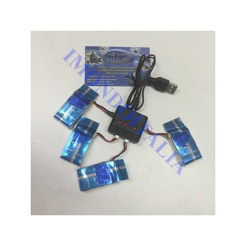 5 BATTERIE  UPGRADE x QUADRICOTTERO DRONE Syma X5SC,  x5C,  X5SW 1 A 5 3.7V 650MAH  CON USB MULTIPLO